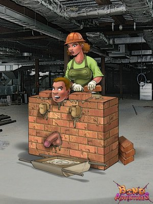 Porn comix. Femdom insanity on construction site.