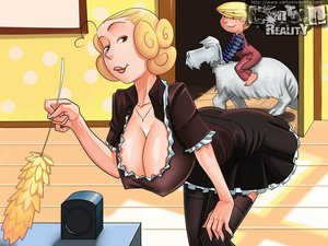 Blonde drawn housewife maid