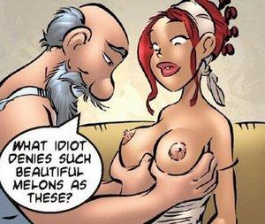 Nude cartoon is rib