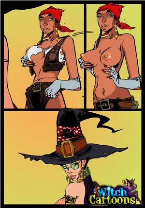 Cartoonporn. Shemale cock in witch's asshole.