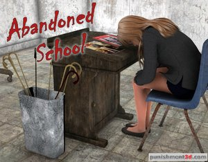Fearful blonde sits in an abandoned school