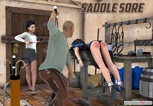 Dame placed on a saddle stand and caned
