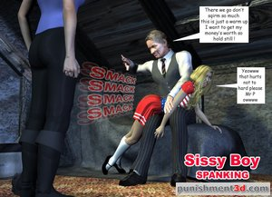 Mother lets an older gent spank her sissy boy son