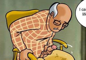 Older man blows load
