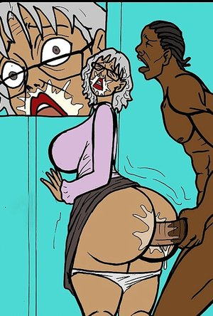 Old bitch gets a huge black dick in her hole