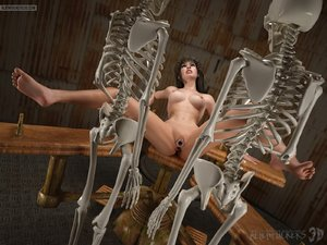 Skeletons subject a siren to searing bondage play