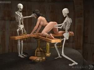 Kinky bondage fuck for a gal and two skeletons