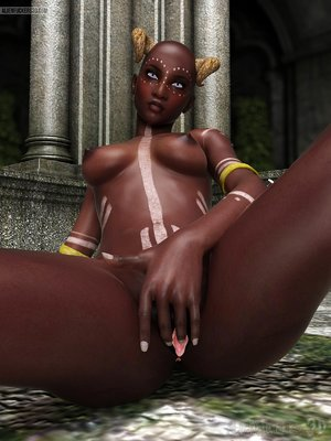 Ebony alien shows off her hot body and nice cunt