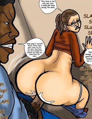 Black stud pounds MILF pussy on a public train