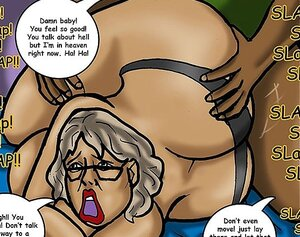 Old dame in a black thong scores good black dick
