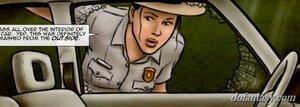 Female park ranger investigates