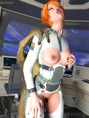 Spaceship fuck for fiery redhead and slim alien