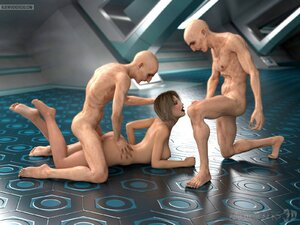 Creative sexual positions for a gal and two aliens