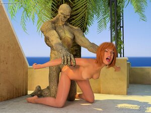 Outdoor doggystyle banging for bimbo and beast