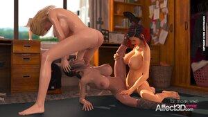 Schoolgirl threesome animation