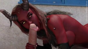 3d cartoon demon pleasing dick