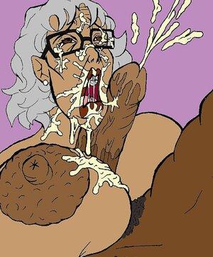 Big tits granny gets a face full of sticky jizz