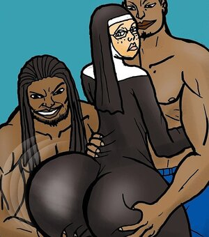 Black men fondle white nun's huge ass