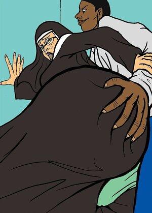 Black men take control of a big-bottomed nun