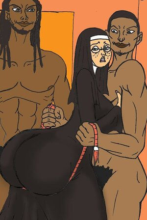 Black men take control of a big-bottomed nun