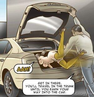 Naked slave tossed car