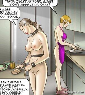 Disgraced slave cleans toilet