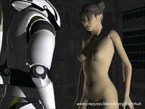 Jailed bitch use robot guard as fucking machine