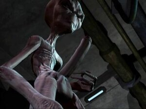 Alien gets it on with a blonde