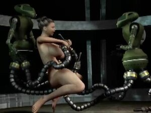Busty toon brunette nailed by robots