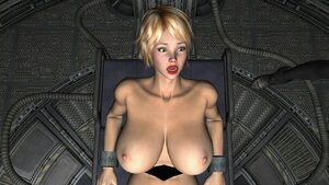 Busty chick fucked by robo-girl