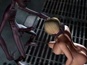 Angry skinny alien uses human bitch's cunt