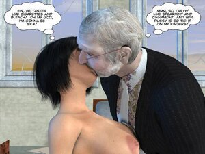 Old pervert cums over tight pussy
