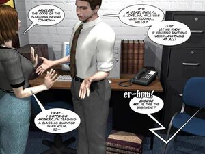 Man's discussion with chesty office girl