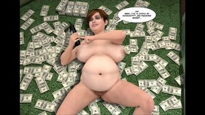 Big naked lady lies on money