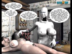 Humanoid fondles naked babe