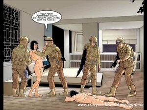 Naked gals submit to armed men