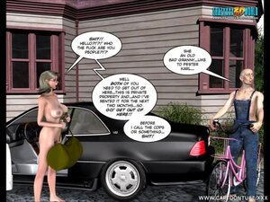 Naked gal meets a man outdoors