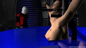 Bound slave immersed in the water