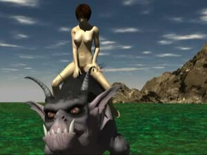 Naked siren rides a fantasy creature