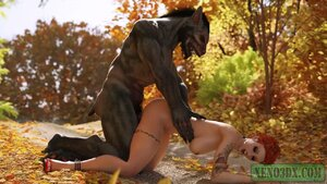 Little Red Riding Hood loves outdoor oral