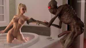 White girl pulled from a bath and fucked by alien