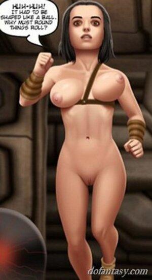 Nude babe falls flat