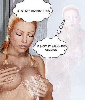 Blonde sensually touches herself in a shower