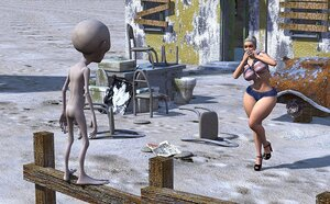 Hot babe with big tits encounters strange alien