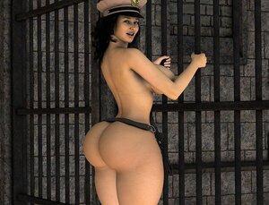 Big-assed brunette jailer gets naked by the cells