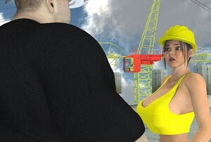 Lady construction worker naked on the job site