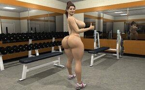 Ponytailed athlete naked at the fitness center