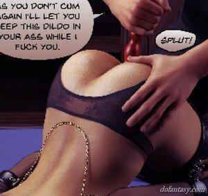 Busty brunette slave dildo