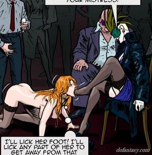 Redhead busty slave sucks