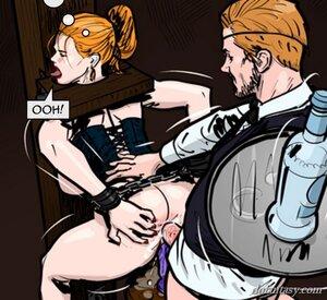 Restrained female slave stiffed